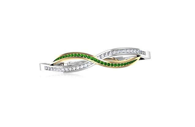 DeLeo - B2116-2-TONE-GREEN.jpg - brand name designer jewelry in Missoula, Montana