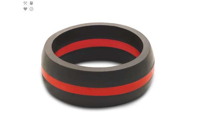 Qalo - Color_Red_Mens_ThinLine.jpg - brand name designer jewelry in Placentia, California