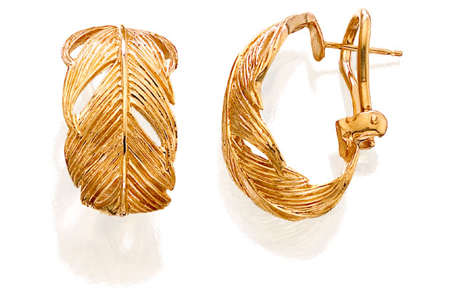 Grainger McKoy - Gold_Wide_Feather_Earrings.jpg - brand name designer jewelry in Sumter, South Carolina