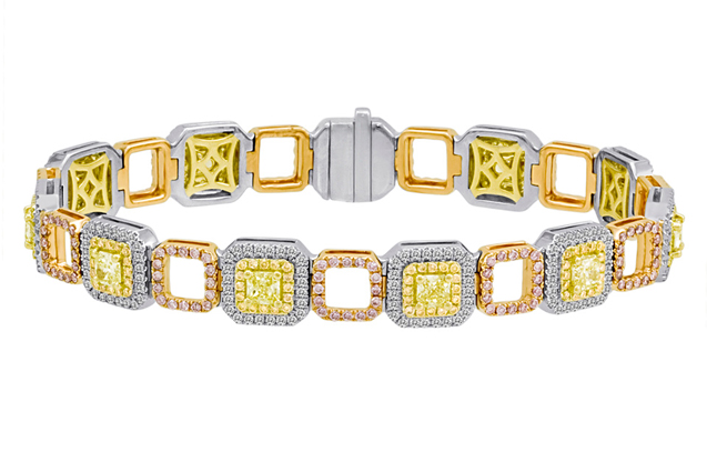 Roman + Jules - roman_and_jules_KB2691WRY-18K_WHITE_YELLOW_ROSE_GOLD_18K_BRACELET.jpg - brand name designer jewelry in Lauderdale-By-The-Sea, Florida