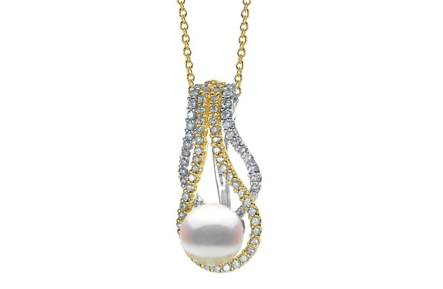 Imperial Pearls - two-tone-gold-pendant-989992TTA18.jpg - brand name designer jewelry in Brenham, Texas