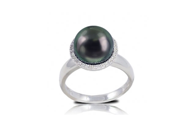 Imperial Pearls - tahitian-halo-ring-916930BWH.jpg - brand name designer jewelry in Bad Axe, Michigan